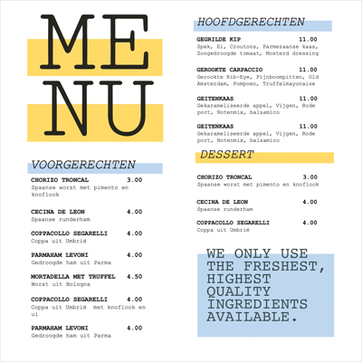 Gratis menu lay-out A4vierkant_Menu_400x400_lay-out