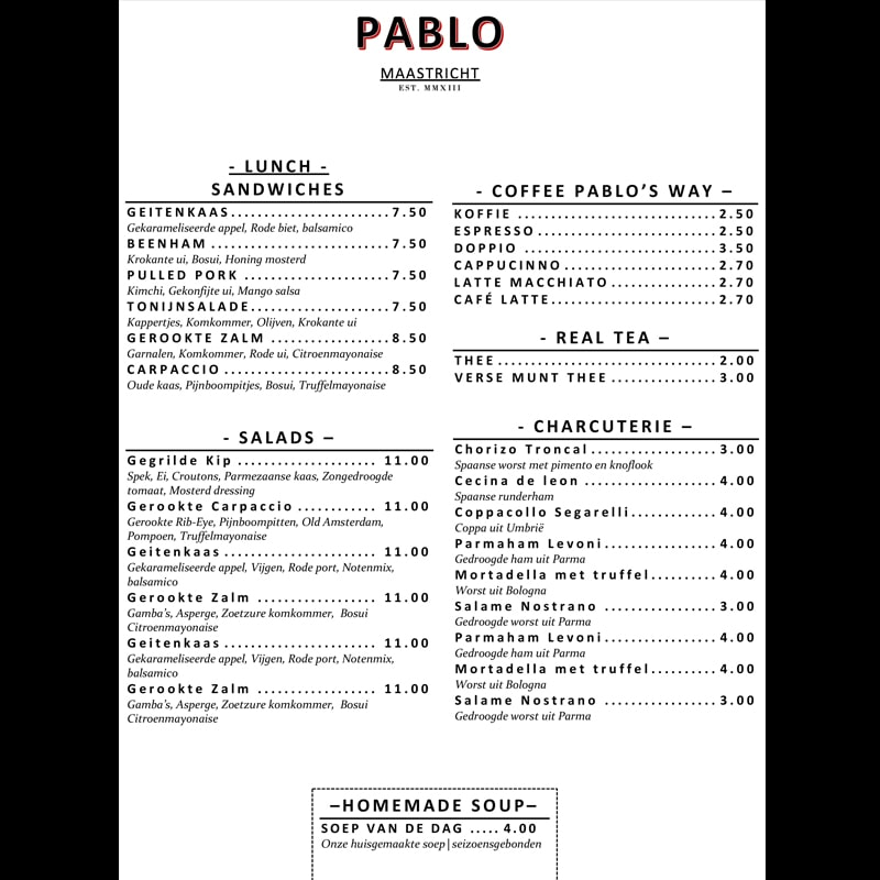 Gratis menu lay-out Pablo-A4