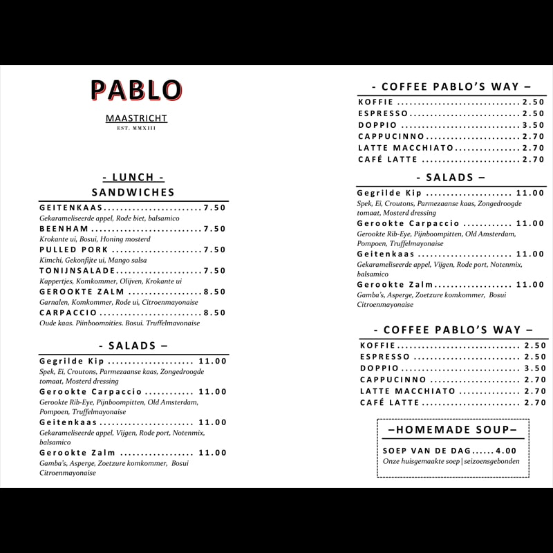 Gratis menu lay-out Pablo-A5